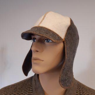 Gyapjú szaunasapka fülvédővel, csíkos